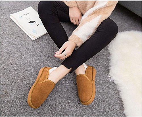 JRenok Botte Basse Plateforme Cheville Mode Simplicité Chaussure Chaude Fourrée à Fnfiler en Hiver Marron