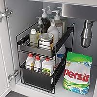 ZYHA Etagère de Rangement sous évier Polyvalent à tiroir Coulissant à 2 Niveaux,Organisateur d'armoire sous évier,pour…