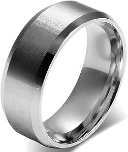 JewelryWe Anello Uomo Donna Unisex, 8mm Anello di Fidanzamento di Nozze Classic, Acciaio Inossidabile Colore Argento, Meccanico Stile Minimalista, Dimensione 9-35, Anello Personalizzato