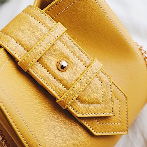FZHLY Modo Delle Signore Bucket Bag Estate Catena Personalizzato Bag,Yellow Black