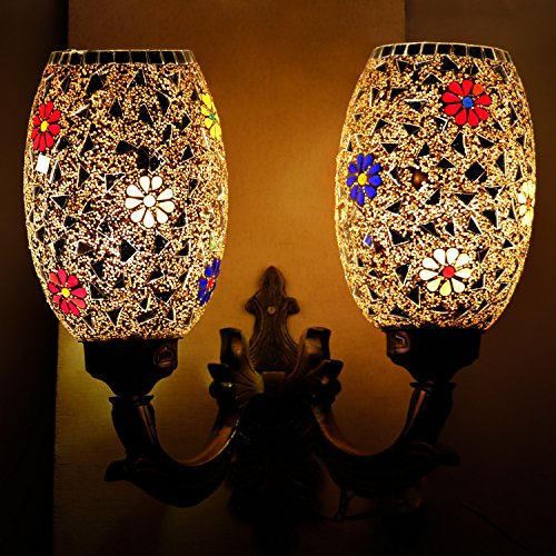 Earthenmetal Handcrafted Mosaic Decorated 2 Dome Glass Wall lamp