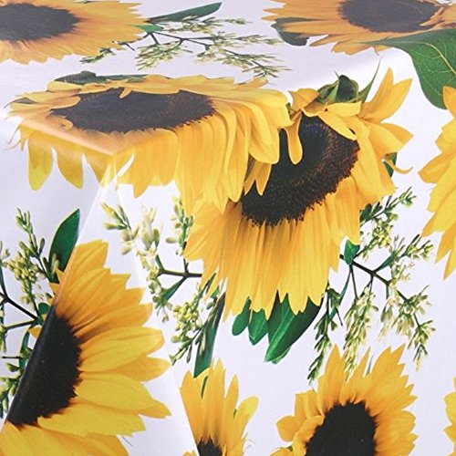 Wachstuch Sonnenblume Glatt · Eckig 90x160 cm · Länge wählbar· abwaschbare Tischdecke