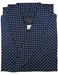 Men's Luxurious Dressing Gown - 100% Pure Silk - Stylish Navy with White Polka Dot Pattern