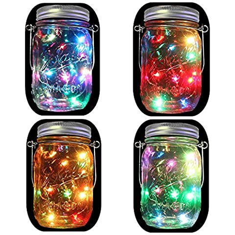 4-Pack Énergie solaire Mason Jar Lights(Mason Jar & Handle Included), 5 couleurs 10 ampoules Jar Hanging Light, Lanternes solaires extérieures au jardin, lanterne suspendue, éclairage solaire du chemin du patio, lustre à cordes étoilé