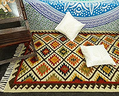"Jute Cotton Rags Rug American Navajo Multicolour Floor Runner Mat Throw Dari 62"" X 37"" - inexpensive UK light store."