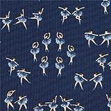 Dunkelblauer Stoff mit Ballerinas von Dear Stella