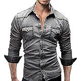 semen Herren Mode Hemden Langarm Knopf Beiläufige Freizeithemd Regular Slim Fit Jeanshemd Jeans Denim