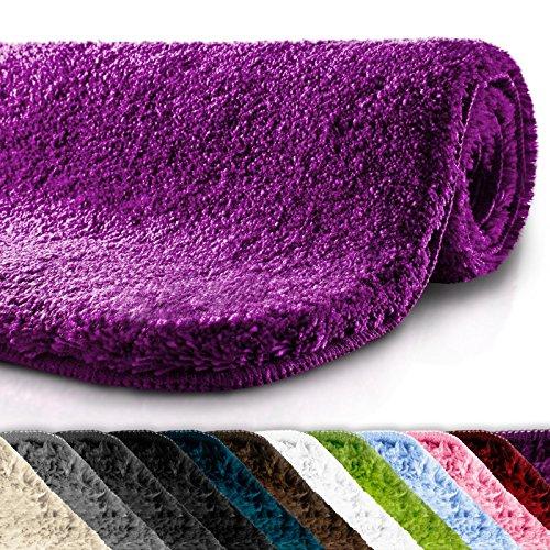 casa pura Badematte | kuscheliger Hochflor | rutschfester Badvorleger | viele Größen | zum Set kombinierbar | Öko-Tex 100 zertifiziert | 60x100 cm | Purple Violet - Lila In Und Bad-matten Teppich-sets