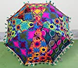 indiano decorativo fatto a mano hippie gypsy Decor cotone specchio lavoro ricamo ombrello, protezione UV ombrellone ombrellone, boho Boemia nozze spiaggia ombrellone, home decor ombrellone da spiaggia