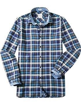 Signum Herren Hemd Kent Baumwolle & Mix Oberhemd Kariert, Größe: M, Farbe: Blau