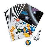 Elfen und Zwerge 10 x Weltraum Aufkleber Space Weltall Shuttle Sterne Planeten Kindergeburtstag Mitgebsel Giveaway Haftspiel