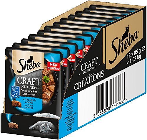 Sheba Craft Collection Nassfutter, für Katzen, Edle Kollektion aus Häppchen mit Sauce, 12 Portionsbeutel (12 x 85g)
