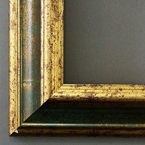 Bilderrahmen Grün Gold - 40 x 50 cm mit Normalglas - Antik, Barock - Alle Größen - Handgefertigt - Galerie-Qualität - WRF - Bari 4,2