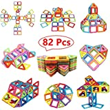 Magnetic Blocks Building Set Magnetic Tiles Building Blocks Set For Kids WonderfulDirect 82pcs Magnetic Toys Building Tiles Blocks Stack Set - 82 Pcs Stacking Blocks (82PCS Magnetic Building Blocks)