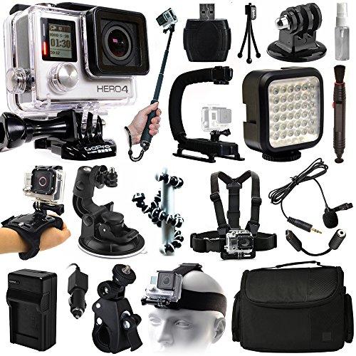 GoPro Hero 4Black Edition videocamera Action Camera + selfie stick + stabilizzatore + LED video Light + microfono + pettorale + mano guanto/cinturino da polso + testa/Helemet supporto + custodia (chdhx-401)