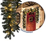 Künstliche Weihnachts-Girlande Tannengirlande mit LED Lichterkette 40 LED's