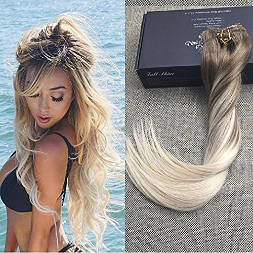 Full Shine 20 Zoll 120gram 10 Pcs Klipp in Haarverlängerung Extensions Ombre Aschbraun Farbe #8 Fading to Colour #60 Platinum Blond Clip in Haar Verlängerung für Kurze Haare