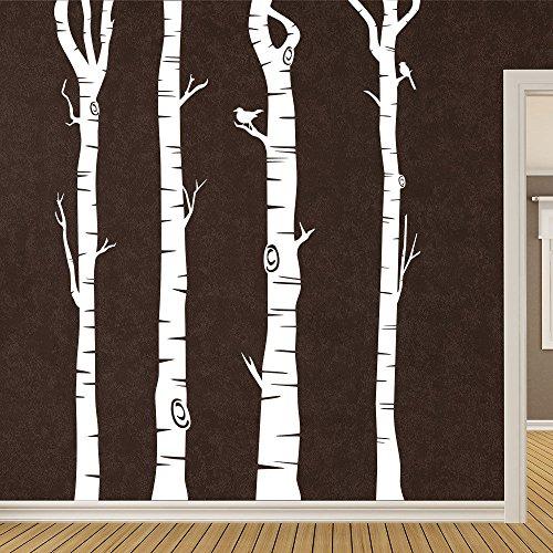 KLEBEHELD® Wandtattoo Birkenstämme - Birken - Stämme - Birkenstamm Farbe weiss, Größe 160cm Groß Stamm