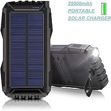 Solar Ladegerät Powerbank 25000mAh,MIXSEN Outdoor Powerbank Wasserdichte mit Starken LED Licht und 2 USB Ports Externer Akku für das iPhone, iPad, Samsung Galaxy und andere Smartphones/Handys (Schwarz)