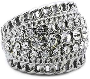 Dyrberg/ Kern 332733  Crystal Brass Ring Size Q 1/2
