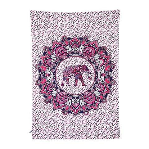 Finether indischer Wandteppich Wandbehang Mandala Elefant Tuch Wandtuch Gobelin Tapestry Goa Indien Hippie-/ Boho Stil als Dekotuch /Tagesdecke indisch orientalisch psychedelic bunt 215 x 150 cm