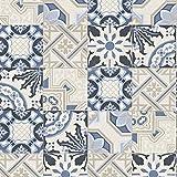 Rasch Marokkanische Barock Kachel Muster Tapete Realistisch Faux-effekt - Blau Beige 526325