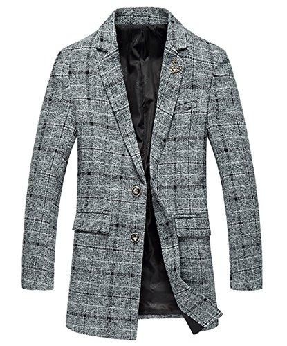 7598dccd2118 GOMY Herren Wolle Mantel Business Mantel Gestreift Plaid Elegante Slim Fit  Jacke