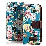 Saxonia Flip Tasche für HTC One M8 (2014) Schutzhülle Case mit Kartenfach Motiv Blumen Blau