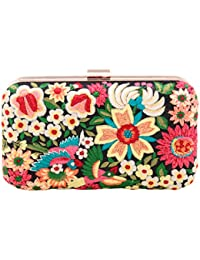 Fabric And Lace Hand Crafted Party Wear Box Clutch With Sequence, Zari And Thread Work On Velvet Fabric For Women...