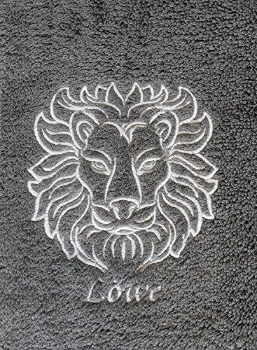 (KringsFashion Duschtuch mit Sternzeichen 8 Löwe (Geburtstag 23.07. - 23.08.), hochwertig Bestickt, 70x140cm, Farbe: Anthrazit, Stickfarbe Tierkreiszeichen: Silbergrau)