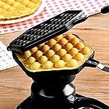 Waffle Maker,Bloomma Egg Bubble Waffle Pan Antiadherente Grill Egg Cake Pan Egg Puff Waffle Maker Plancha de presión de hierro