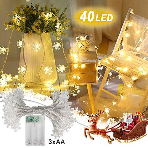 nnooLight 4 Meter 40er LED Schneeflocken Lichterketten Batteriebetrieben Warmweiss | Innen Beleuchtung Deko fuer Garten, Wohnungen, Tanzen, Hochzeit, Weihnachtsfeier usw. (Halloween Papier Waren)