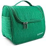 Kulturbeutel zum Aufhängen für Damen, Herren & Kinder, EasyTravel günstiger Kulturtasche mit 11 Fächern zur Aufbewahrung- Kosmetiktasche Waschtasche für Reisen, Fitness- Grün