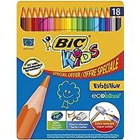 BIC Kids Evolution ECOlutions  Crayons de Couleur - Boîte Métallique de 18