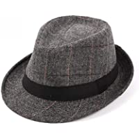 1PCS Uomini Plaid Manhattan Trilby Fedora Cappelli Gangster Stile Cuban Derby Hat Jazz Cap