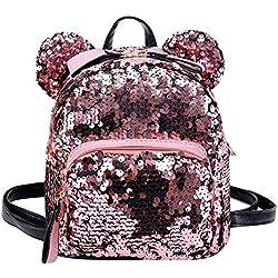 Mochila de viaje OneMoreT, con lentejuelas brillantes y purpurina, para niñas, rosa