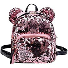 Mochila de viaje OneMoreT, con lentejuelas brillantes y purpurina, para niñas, ...