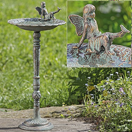 Vogeltränke mit Ständer grün-antik Gartendeko Schalenständer Vogelbad (1005790)
