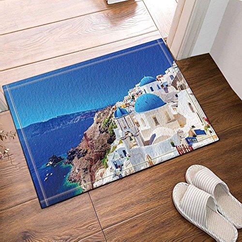 Décoration de ville européenne Santorin Grèce paysages palais de pierre blanche salle de bains tapis antidérapant étage entrée extérieur intérieur porte tapis 60x40cm pouces tapis de salle de bains