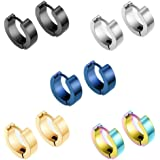 Epoch World 5 par 14 mm rostfritt stål silver guld huggie gångjärn ringörhängen för män kvinnor unisex, titan svarta knoppörh