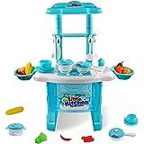 Hyselene Cucina Giocattolo per Bambini 3 4 5 Anni Cottura con Chef Giochi di Ruolo Regalo Bambino Blue