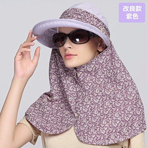 YANGFEIFEI-MZ Helm Sommer Outdoor Anti UV-Fahrradhelm/Sonnenschutz/Face Maske Gap, Purple/A