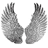 Zhiheng 1Paar Jumbo Engel Flügel mit Patches Eisen auf Sew auf Applikation Embroidered-Motiv für DIY Kleidung, silber, 33cm*18cm(13inch*7inch)