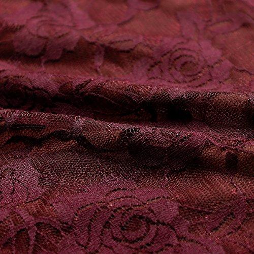 NALATI Damen Sommerkleid Spitzenkleid Elegant mit Gürtel Abendkleid Ärmellos Kurz Brautjungfernkleid Knielang Swing Partykleid Weinrot