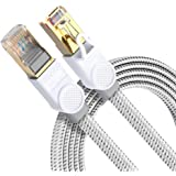 Cat 8 Ethernet Cable DanYee Nylon Braided High Speed LAN Network Cable Fluke Certified 40Gbps 2000Mhz SFTP LAN Wires CAT8 Gol