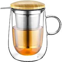 Glastal 430ml Tasse à thé en verre à double paroi avec passoire en métal Tasse à thé en verre Tasse à thé en verre…