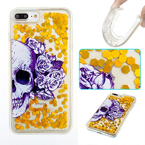 For iPhone 7 PLUS 5.5[CUTE SPARKLING]Novelty Creative Liquid Glitter Design Liquid Quicksand Bling Adorable Flowing Floating Moving Shine Glitter Case -PURPLE EIFFEL GOLD SKULL