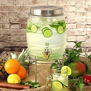 Barrel Beverage Dispenser con supporto 5ltr | distributore di bevande, Barile distributore di bevande, vetro distributore di bevande, Mason Jar Drinks Dispenser