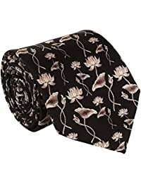 ROHIT BAL Men's Signature Lotus Silk Tie (Black, Large)
