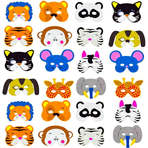 SWZY Tiermasken,Schaumstoff Masken Eva Animal Masks Schaumstoff Masken Kindermasken für Halloween Weihnachten Kostüm Requisiten Dress-Up Party Zubehör, 24 - Party Animal Kostüm Zubehör